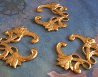2 PC Raw Brass Water Lilly Art Deco Jewelry Finding - J0214