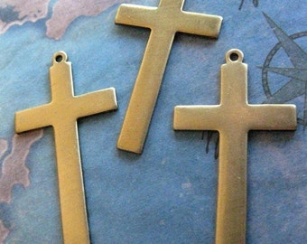 2 PC Solid Brass Cross Pendant - W0006