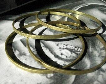 Unfinished  Hammered Brass Seamless Bangle Base - B051A