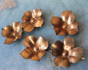 6 PC Tiny Brass Flower Bud - Y022