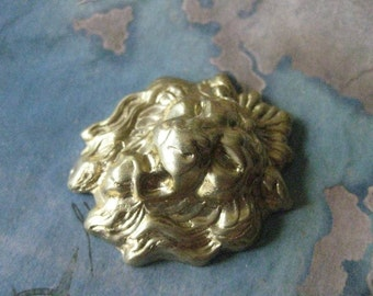 1 PC Brass Stamping Lions Head / Large - ZNE 0013T