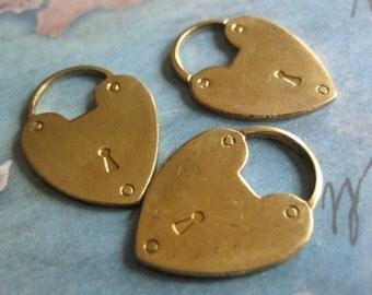 2 PC Solid Raw Brass Heart Padlock Finding - BB09
