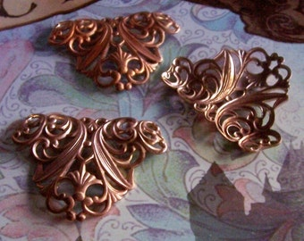1 PC Large Victorian Nouveau Raw  Brass Fleur Scroll Jewelry Finding - D0074