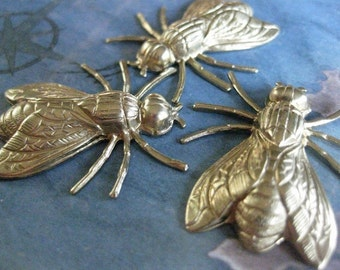 2 PC Raw Brass Art Deco Fly Stamping / Large and Dimensional - DD01