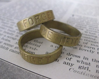 1 PC Unfinished Raw Brass Ring Band / Forget Me Not SZ 10 - KK10