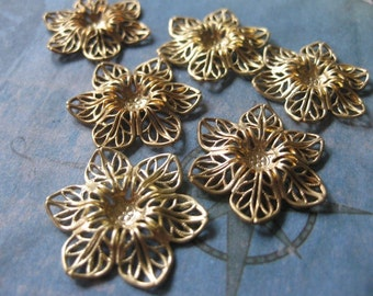 2 PC Brass Filigree Flower  - GG16