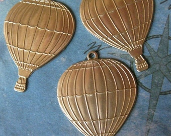 2 PC Raw Brass LARGE Hot Air Balloon Charm / Pendant Finding - AA04