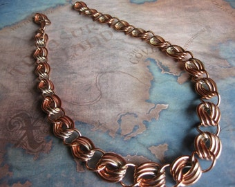 "1 PC Raw Brass 18"" inch -  Vintage Triple Link Heavy Gauge Necklace"