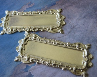 1 PC - Large Raw Brass Decorative Frame / Brooch Plate Base - OO06