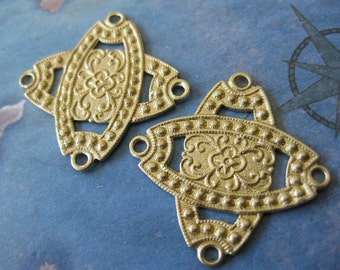 2 PC Raw Brass Stamping Celtic Link - OO09