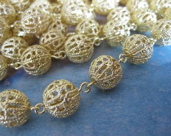 1Ft Raw Brass Filigree Bead Chain - 10mm Bead