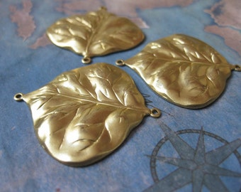2 PC Brass Nouveau / DECO Leaf Jewelry Finding - RR03
