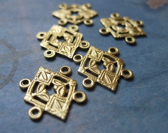 6 PC Deco Style Raw Brass 4-Way Link / Connector Finding - RR11