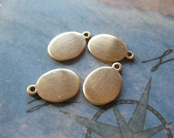 12 PC Brass Blank Tag / Charm 8x13 mm - RR23