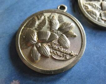 1 PC Solid Brass February Birthday - Violets Flower Pendant - TT08