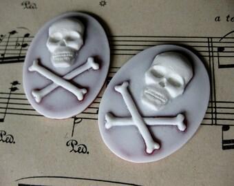 2 PC Skull and Cross Bones  Cameo - 40 x 30mm