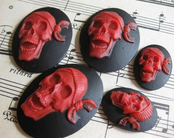 Designers Lot -  5 PC Pirate Skeleton Head Cameo / Blood Red on Black - 40 x 30mm and 25x 18mm