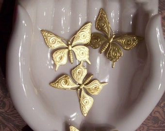 2 PC Raw Brass Nouveau Butterfly Finding -  F0138
