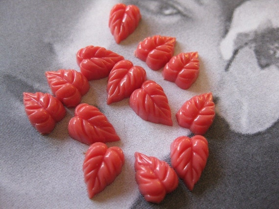 12 PC Vintage Acrylic Leaf Cabochon - Coral