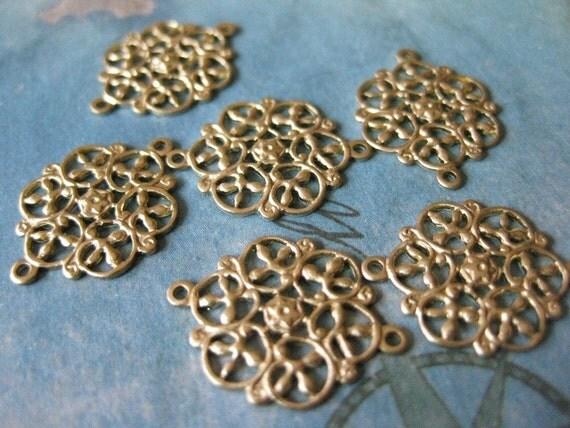 6 PC Raw Brass Victorian Filigree Link Finding - BB07