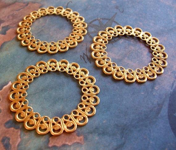2 PC Raw Brass Filigree Ring/Circle Jewelry Finding -  G0153