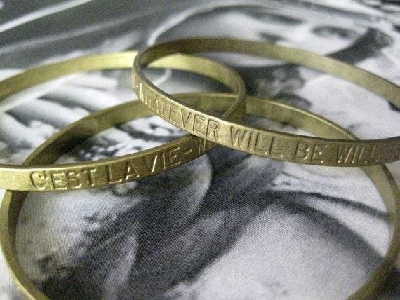 1 PC Brass Stamped Sentiments / C'est Lavie -  Seamless Bangle Bracelet - B043
