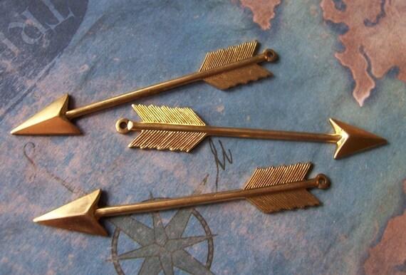 2 PC Large Raw Brass Cupids Arrow Charm - ZNE H0175
