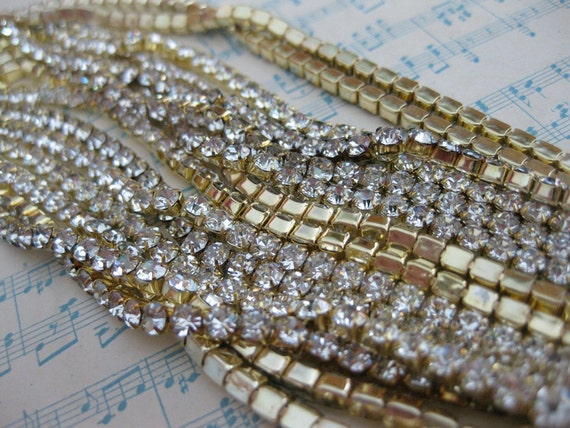 Gold Plated Swarovski Crystal Rhinestone Chain (24pp) - 1 Foot