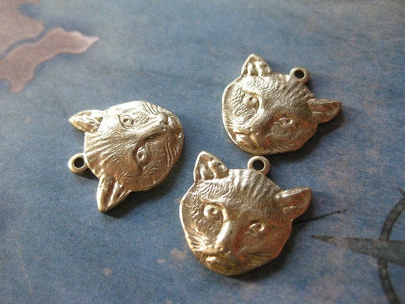 3 PC Raw Brass Pussy Cat Face Pendant / Charm - S0403