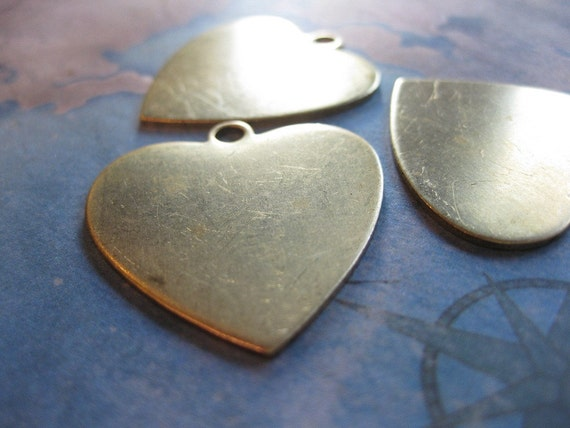 2 PC Large Raw Brass Large Heart Pendant / Charm Blank - SS04