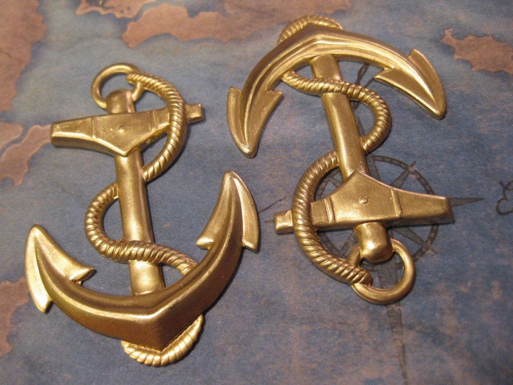 1 pc extra large raw brass nautical ship anchor and rope for Large nautical rope