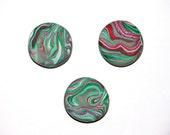 Set of 3 Polymer Clay Mini Magnets 'Green Mint Swirl' CHRISTMAS FREE SHIPPING