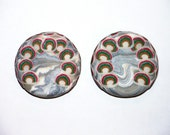 Pair of 2 Large Polymer Clay Magnets ' A Christmas Rainbow ' CHRISTMAS FREE SHIPPING