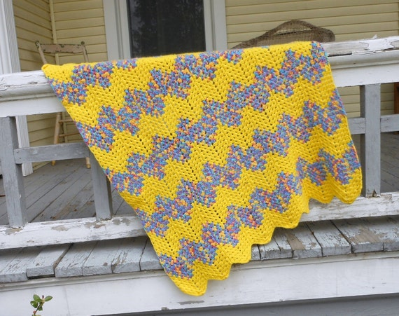 Vintage Afghan Baby Blanket Boho Crochet Couch Throw