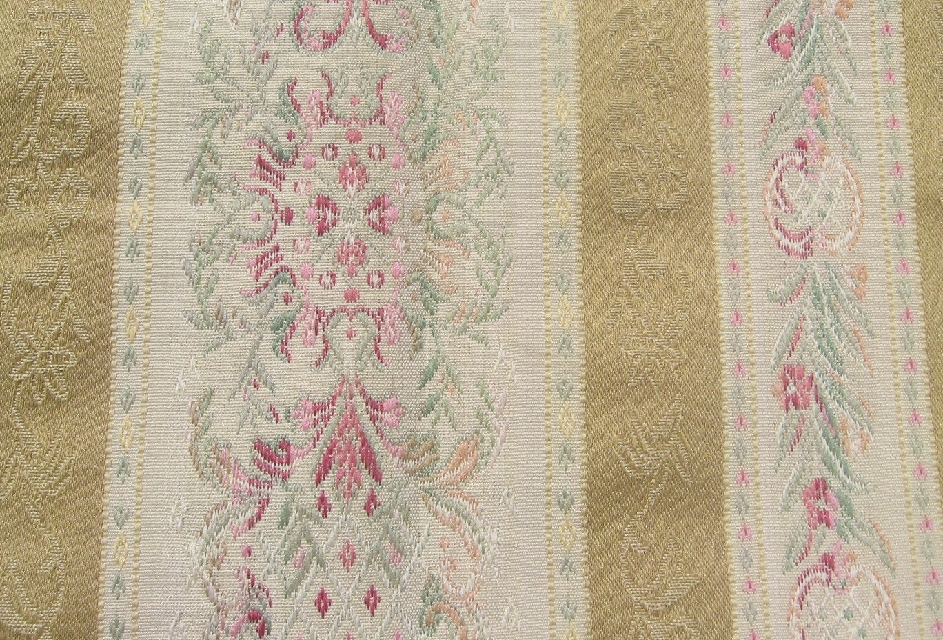 Antique Vintage Brocade Upholstery Fabric 57 Inches By 1 Yard