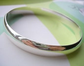 Extra Wide Simple Sterling Silver Bangle