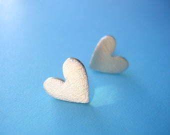 Sterling Silver Heart Studs with Frosted Finish