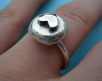 Sterling Silver Heart and Pebble Ring