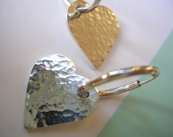 Sterling Silver Hoop Earrings - Silver Hammered Shimmer Hearts