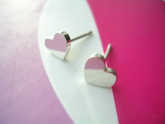 Sterling Silver Mini Hearts Stud Earrings