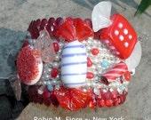 Cherry Peppermint Murano Glass Candy Cuff Bracelet  Robin M. Fiore New York
