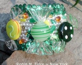 Lemon Lime Murano Glass Candy Cuff Bracelet  Robin M. Fiore New York