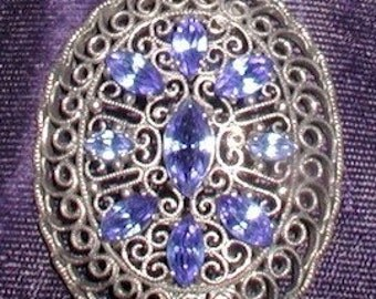 Necklace Vintage Ornate Filigree Blue Rhinestone   Free Shipping to the USA