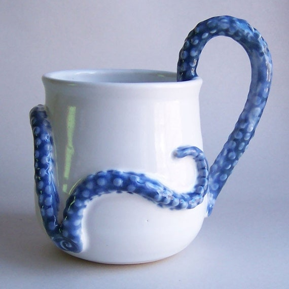 White Monster Mug  in the Clutches of a True Blue but Obviously DementedTentacled Sea Monster