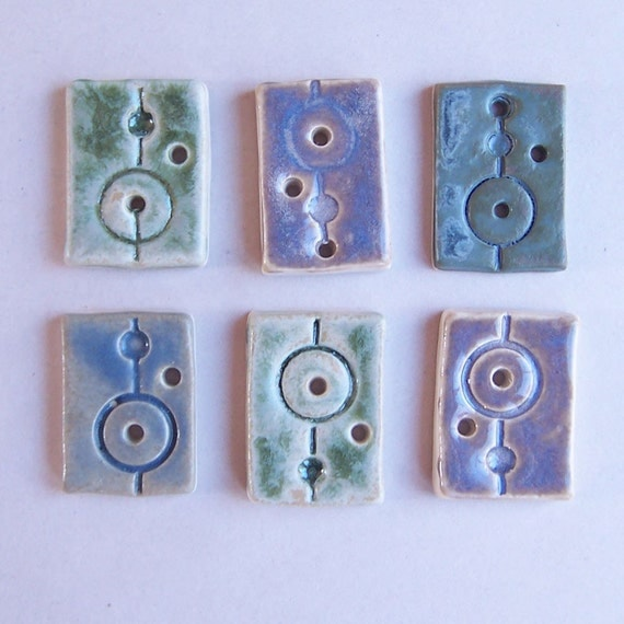 Six Crop Circle Buttons in Spearmint Green and Mountain Mist Glaze