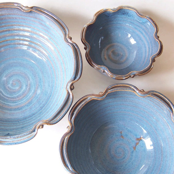 Set of 3 Nesting Bowls in Floating Blue MADE TO ORDER