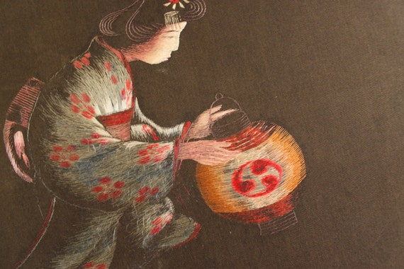 Vintage Japanese Lantern Girl Picture