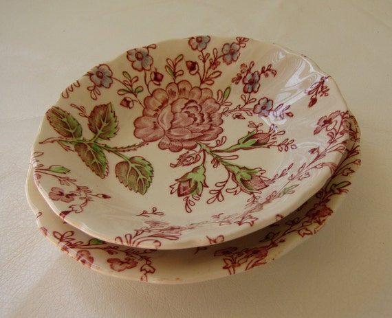 Vintage Johnson Brothers Rose Chintz Berry Bowl and Saucer