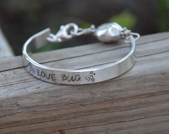 hand stamped baby child bangle cuff bracelet ...love bug