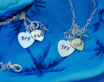 Big Sis, Lil Sis, BFF ...hand stamped heart pendants...two  custom necklaces for 38.00 stocking stuffer